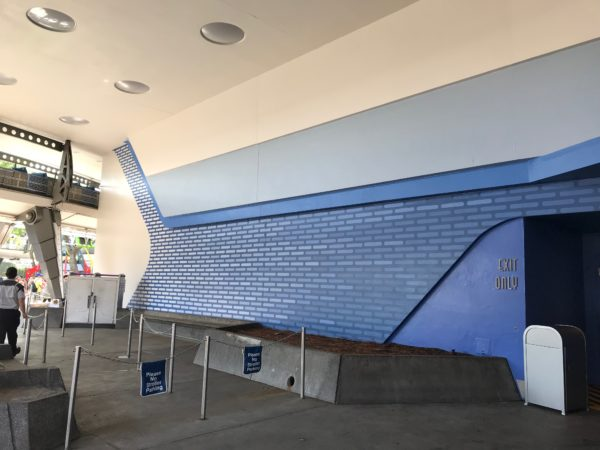 The exit near the Monsters, Inc. Laugh Floor features a new blue design.