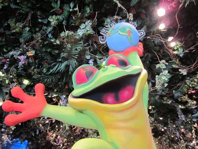 Inside the shop, the Cafe's mascot, a frog, is a popular photospot.