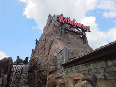 The Rainforest Cafe is easy to spot - just look for the erupting volcano.