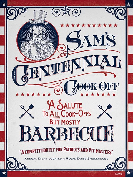 "The poster for Sam's Centennial Cook-Off - A Salute to All Cook-Offs But Mostly Barbecue."" Photo credits © Disney Enterprises, Inc. All Rights Reserved"