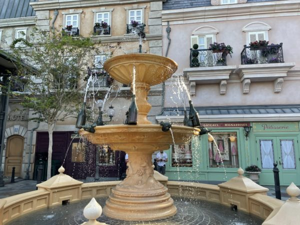 The fountain in front of the attraction brings fun motion and sound to the area.