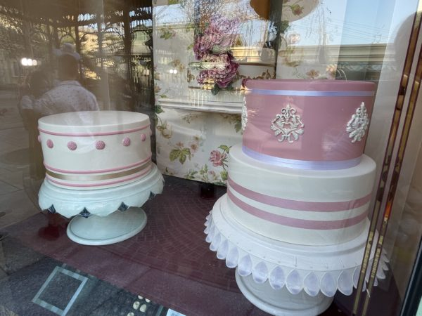Take a minute to look in the windows of the shops. Here are some delicious bakery treats.