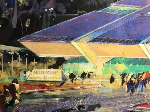 This concept art by Herbert Ryan of Horizons was on display at the Epcot International Festival of the Arts in 2107.