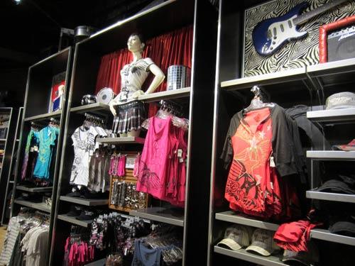 Plenty of rock-n-roll and Aeorsmith merchandise on display.