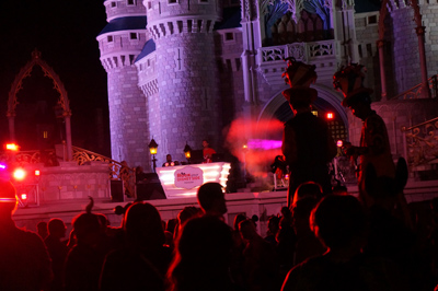 Dance party in front of Cinderella Castle.