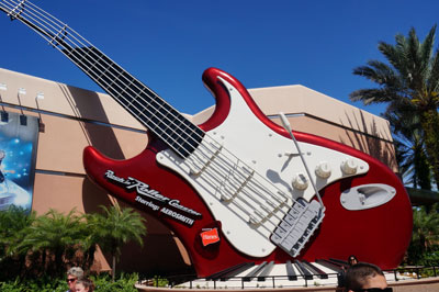 The humongous electric guitar is a good landmark too.