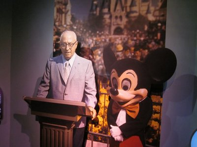 Roy O Disney, Walt's brother, delivers a speech a the opening ceremeony for Walt Disney World.