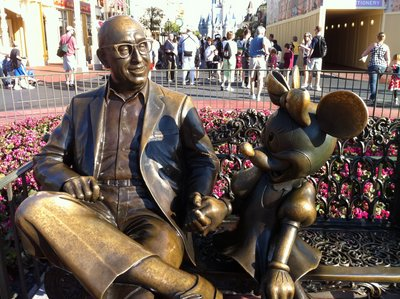 This statue of Roy O Disney with Minnie Mouse on Main Street USA is a tribute to the man who completed the work that Walt started - building the Walt Disney World Resort.