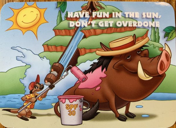 "Timon and Pumbaa say, ""Have fun in the sun, don't get overdone"" to remind you to wear sunscreen!"
