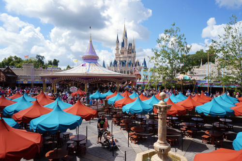 The exterior balcony offers amazing views of Fantasyland and Cinderella Castle in the distance.