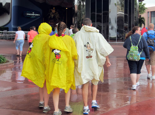 Save time and money by bringing ponchos from home.