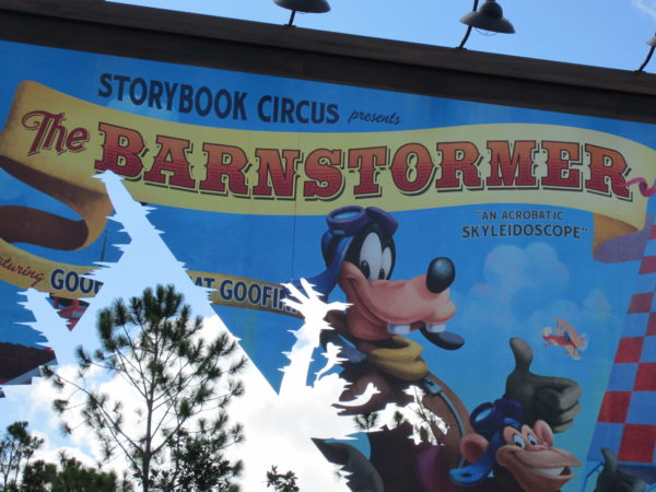 """Barnstormer hints at days gone by calling the kid's rollercoaster an """"Acrobatic Skyleidoscope."""""""