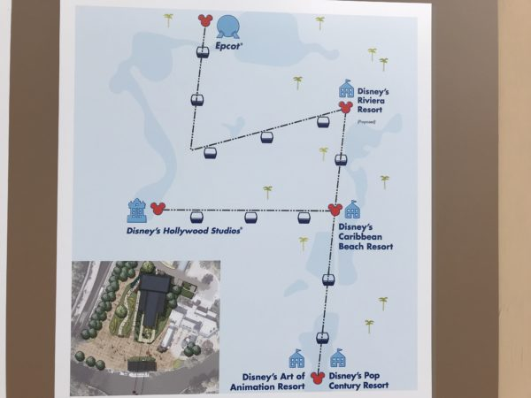 This map shows the track that the Disney Skyliner will follow.