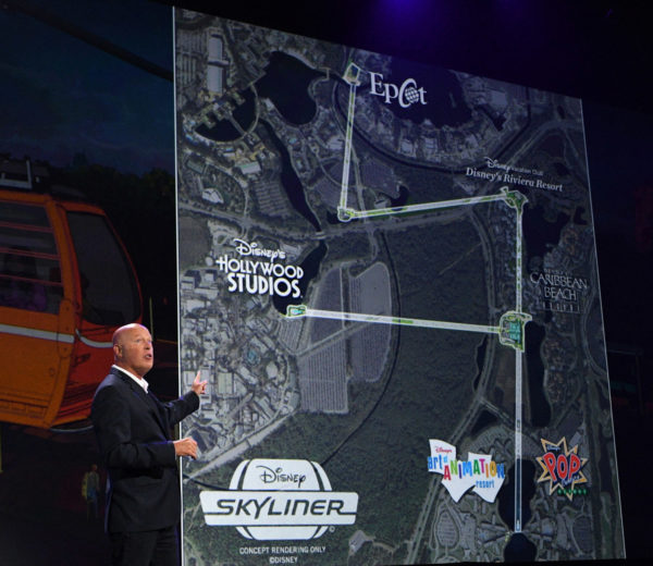 Map of the new Disney Skyliner transportation system linking Epcot, Disney's Hollywood Studios, and four resorts. Photo credits (C) Disney Enterprises, Inc. All Rights Reserved.