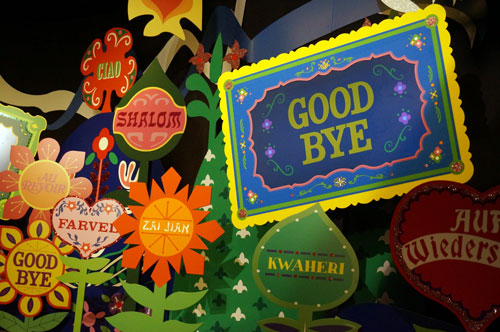 "Screens in the final 'good bye' scene will now display your name, if everything is working as expected. The ""good bye"" sign here is actually at TV screen, but just displayed a standard message the day I visisted."