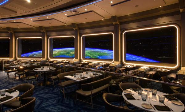 Enjoy your meal with beautiful views of earth from the windows. Photo credits (C) Disney Enterprises, Inc. All Rights Reserved