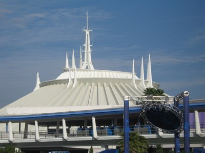 Space Mountain dominates the Tomorrowland skyline.