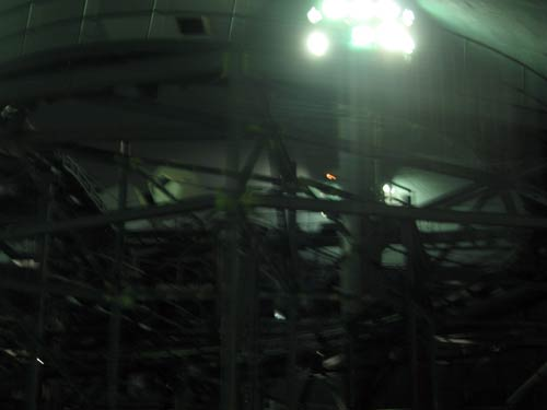 Space Mountain track with the lights on.