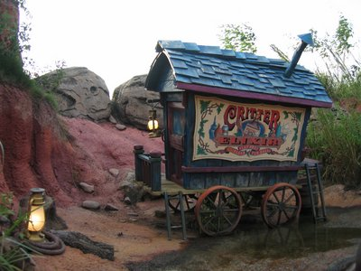 When riding Splash Mountain you get to see plenty of fun scenes, like this wagon selling Critter Elixir.