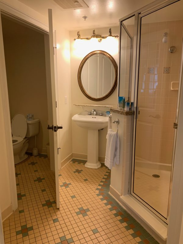 The master en suite has a large shower with a sink and a separate room for the toilet.