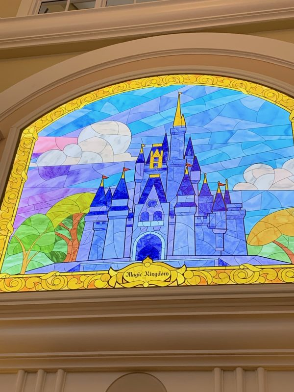 Look up! Every Disney Park is represented in a mosaic including this one with the Cinderella Castle in Magic Kingdom.
