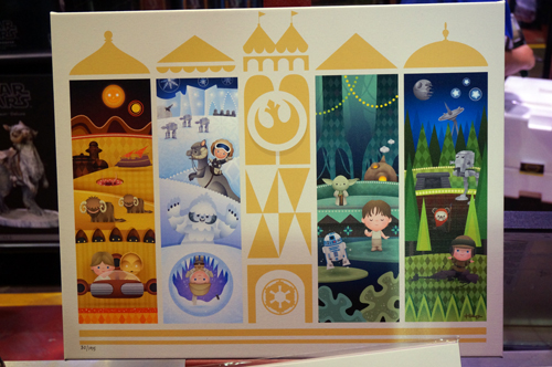 Interesting art that combines the style of Mary Blair's It's A Small World with Star Wars.