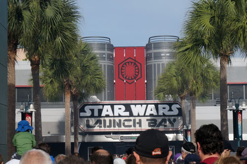 Enjoy some fun movie props and characters at the Launch Bay.