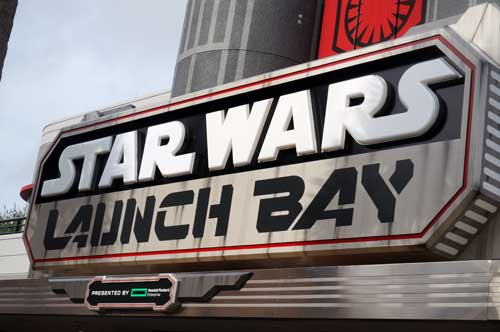 Launch Bay gives you a chance to see Star Wars props and costumes. You can also hug a wookie!