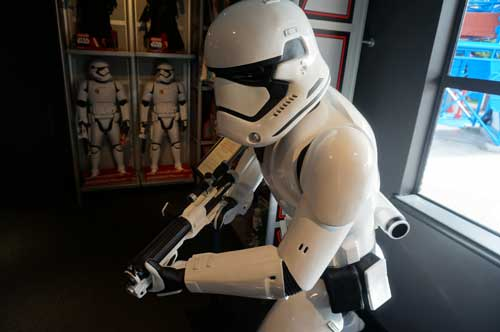 This life-sized First Order Stormtrooper statue can be your for just $9,000. I hope they deliver it to your resort room.