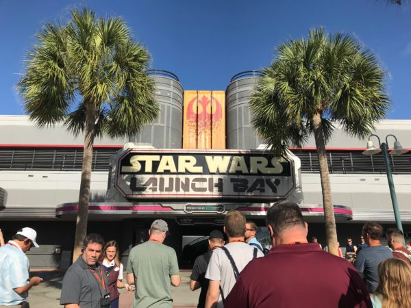 The Star Wars Dessert Party takes place inside the Star Wars Launch Bay.