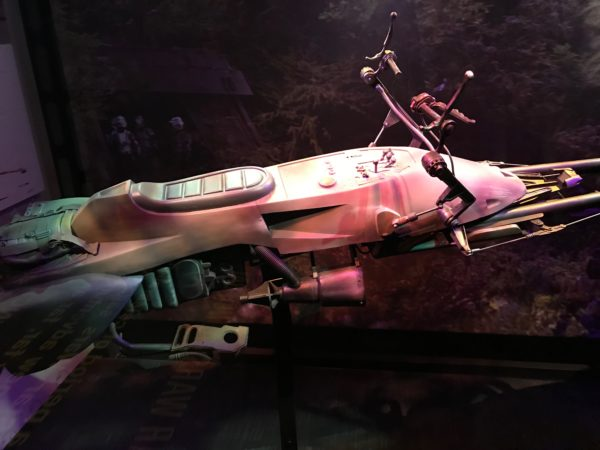 This speeder bike on display was used in Star Wars: Episode 6.