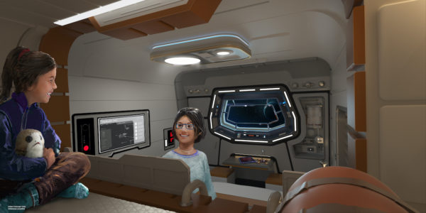 Each cabin has a view into space. Photo credits (C) Disney Enterprises, Inc. All Rights Reserved