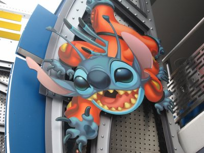 It's easy to find Stitch's Great Escape - just look for this huge picture of Stitch outside the Tomorrowland attraction.