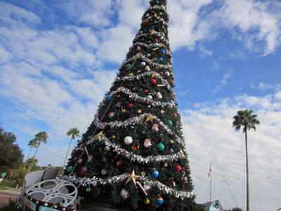 This huge Christmas tree is outside the park entrance.