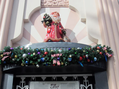 This Santa watches over Hollywood Blvd from the photo shop.