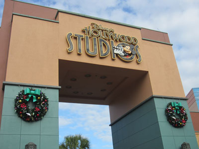 Wreaths decorate the entrance to the Animation Courtyard.