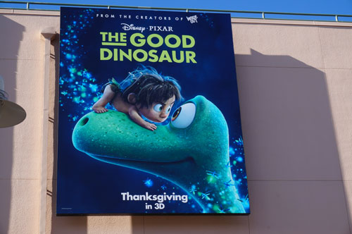 "The Studios has plenty of ads up for the upcoming Disney Pixar movie ""The Good Dinosaur."""