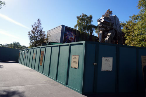 Construction walls around the former Jedi Training Academy spot.