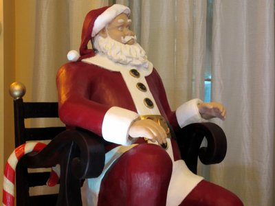It's hard to believe, but this life-sized Santa is made completely out of chocolate