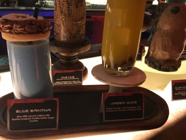 Oga's Cantina serves up a variety of beverages including Blue Bantha, which is like cookies and milk!