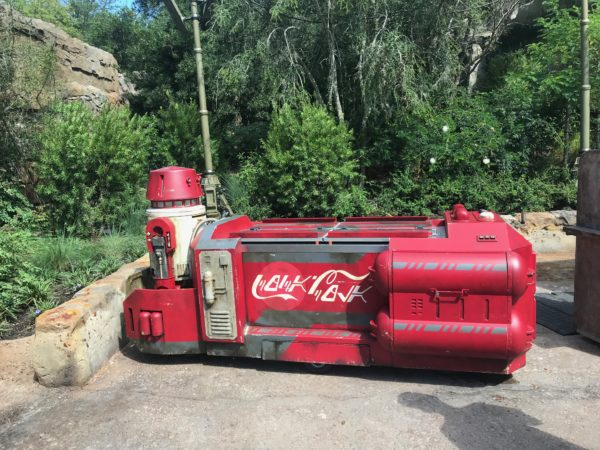 The soda bottles are sold in various locations around Galaxy's Edge including from coolers like this one, which looks like a ship driven by a droid!