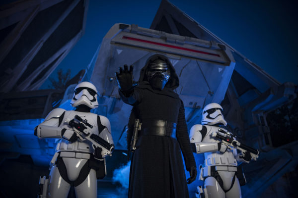 Kylo Ren backed by his escort of Stormtroopers. Photo credits (C) Disney Enterprises, Inc. All Rights Reserved.