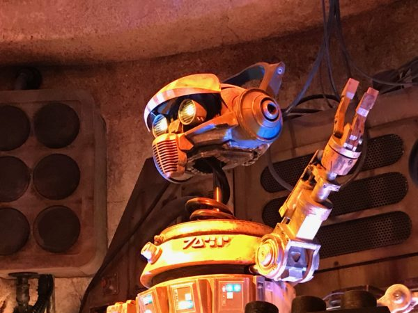 Former Star Tours pilot Rex adopting his new job as Oga's DJ.