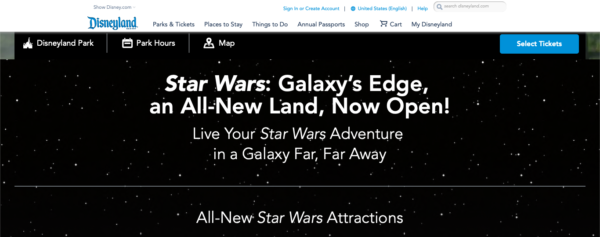 The Disneyland site reflects the fact that Star Wars: Galaxy's Edge is already open.