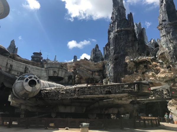 Here is the Disney World version of the Millennium Falcon, which is obviously more gray than tan.