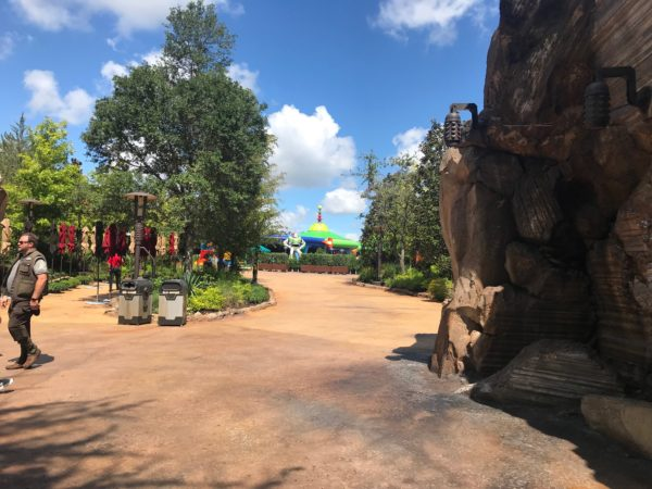 This is the view from Star Wars: Galaxy's Edge to Toy Story Land. Buzz Lightyear welcomes you from one planet to the next!