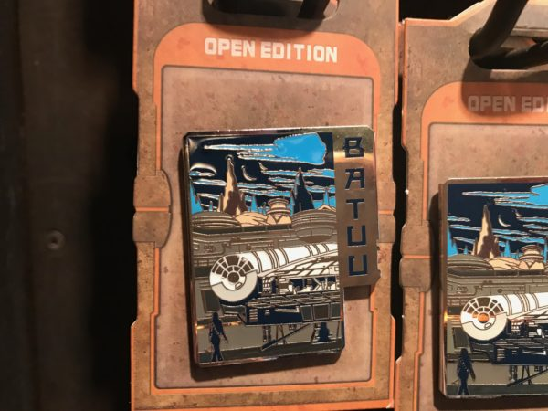 Open Edition Batuu pin with Millennium Falcon
