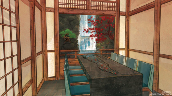 This concept art depicts the chef's table in the water room at Takumi-Tei. Photo credits (C) Disney Enterprises, Inc. All Rights Reserved