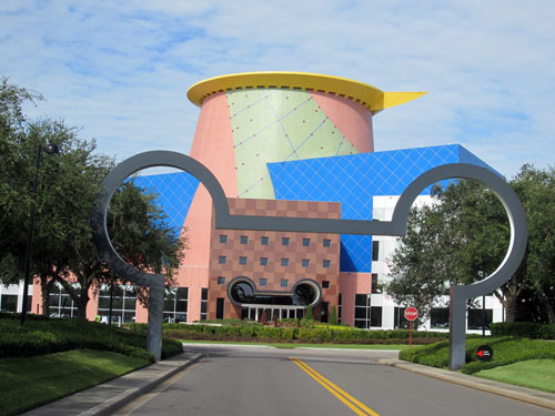 The Mickey ears arch lead to the building.