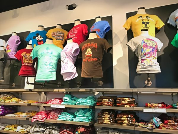The tee shirt section boasts different colors and sizes.